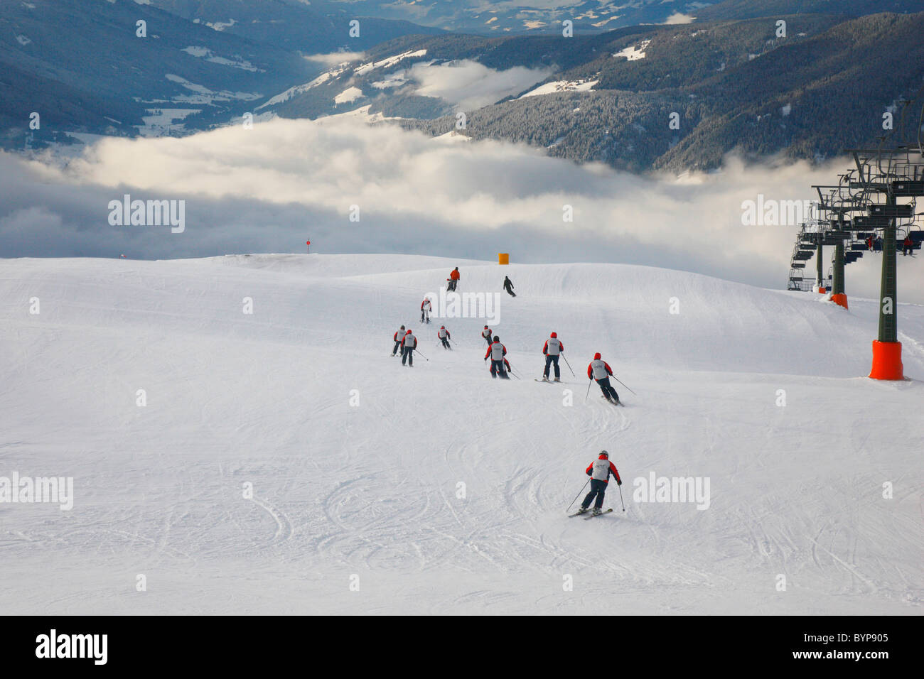 Skiing in Dolomite, Italy, Europe - Stock Image