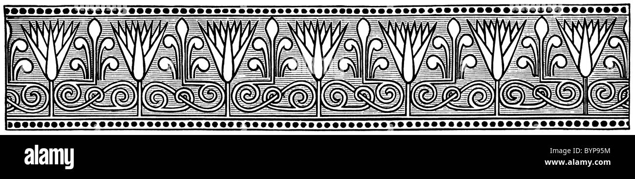 Chapter-head: Greek or Egyptian Frieze (1875) - Stock Image