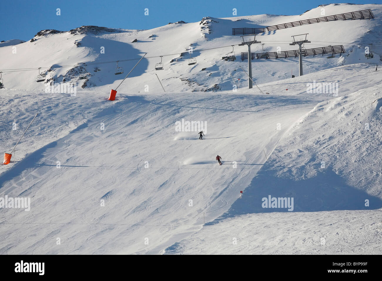 Skiing on the hill at Hochzillertal Arena, Austria, Europe - Stock Image