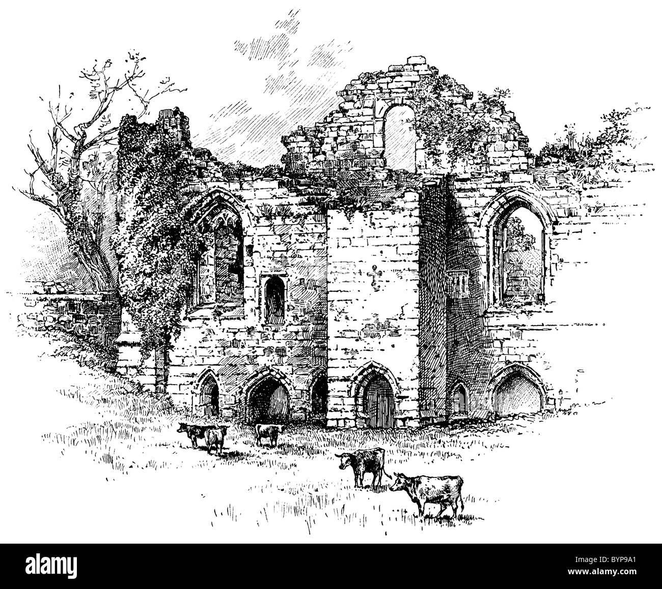 Victorian engraving of Tutbury Castle, Staffordshire - Stock Image
