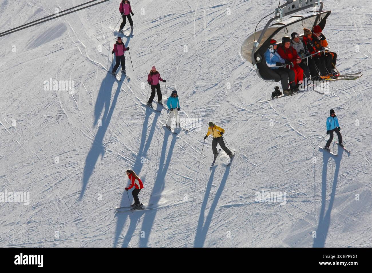 Ski school, Zillertal, Austria, Europe - Stock Image