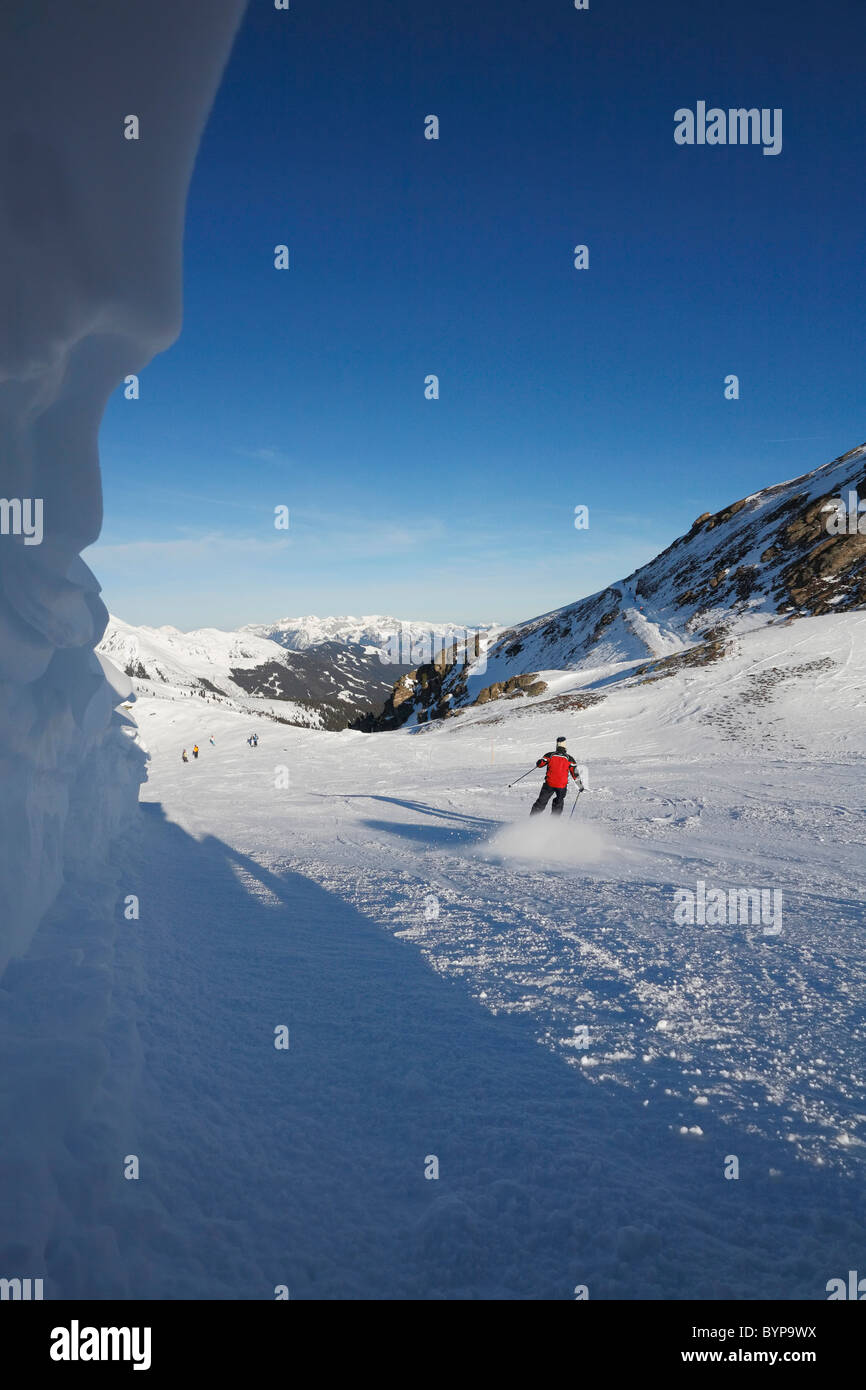 Skiing on the hills of  Austria, Europe - Stock Image