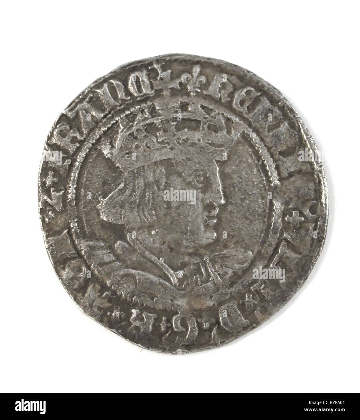 Hammered silver groat of Henry VIII 1526 -1544 - Stock Image