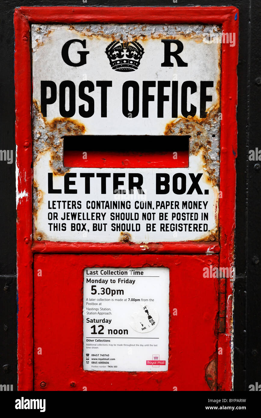Traditional letter box in Hastings, East Sussex, England - Stock Image