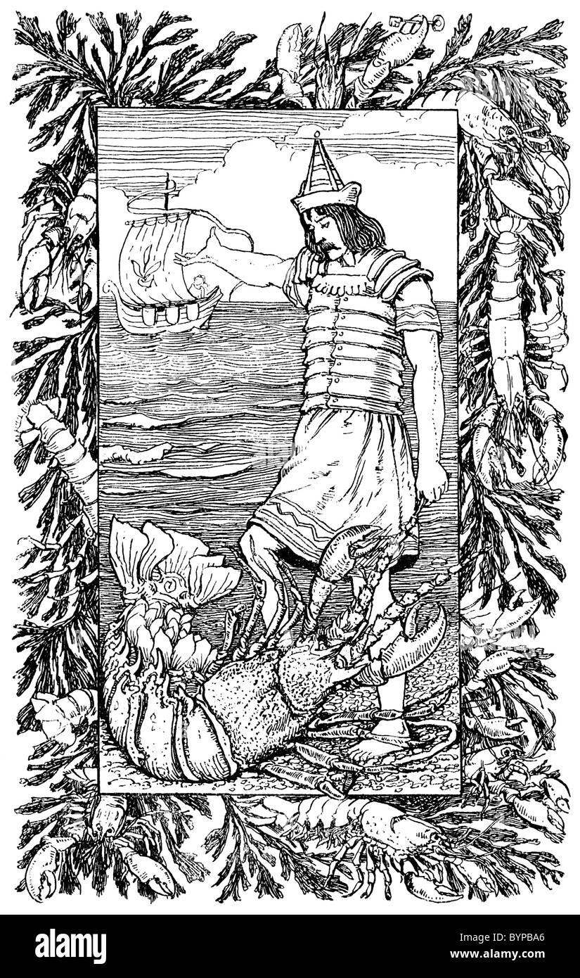 1896 illustration: Niezguinek and the Crawfish - Stock Image