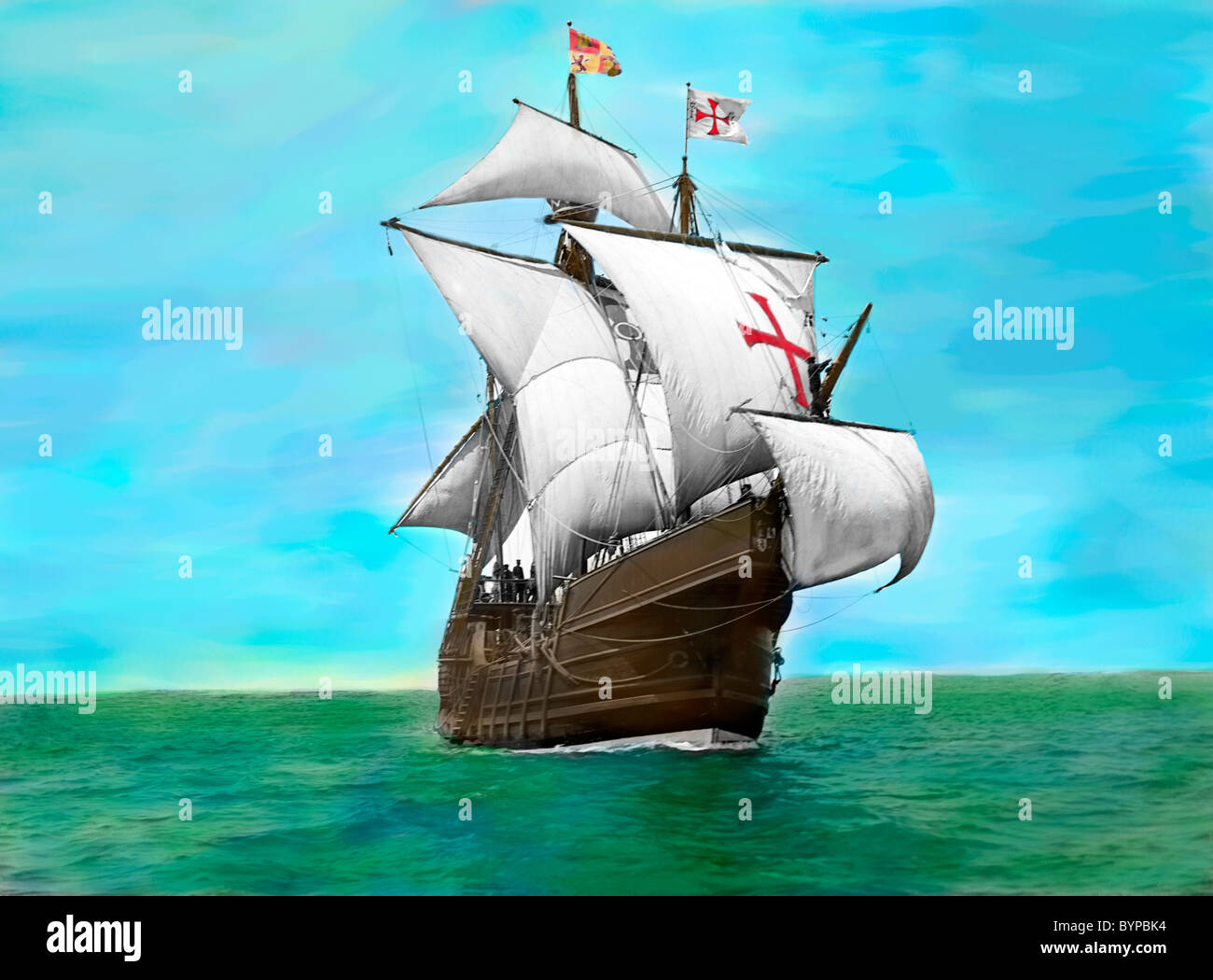 Hand tinted photo of Spanish caravel Santa Maria - Replica of Columbus Ship that sailed to the New World , circa - Stock Image