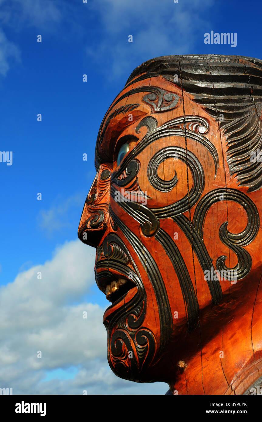 Maori sculptures in New Zealand - Stock Image
