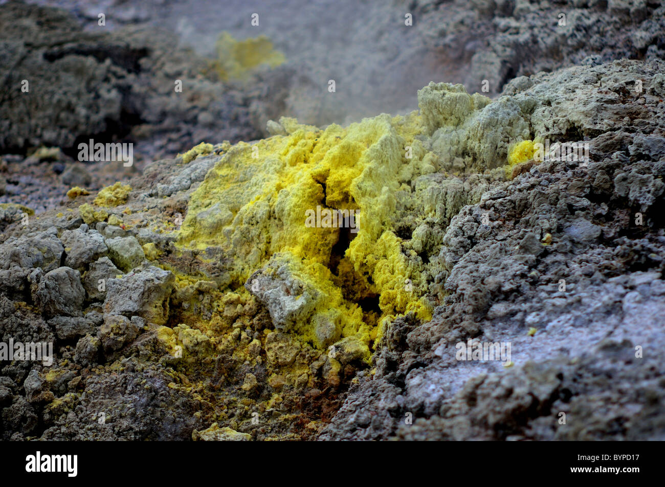 Deposits of elemental sulphur around vents in Wai-o-tapu geothermal region in New Zealand - Stock Image
