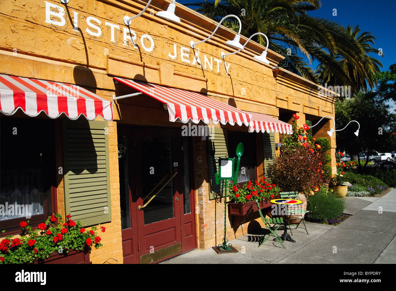 Entrance of a French Bistro, Yountville, Napa Valley, California Stock Photo