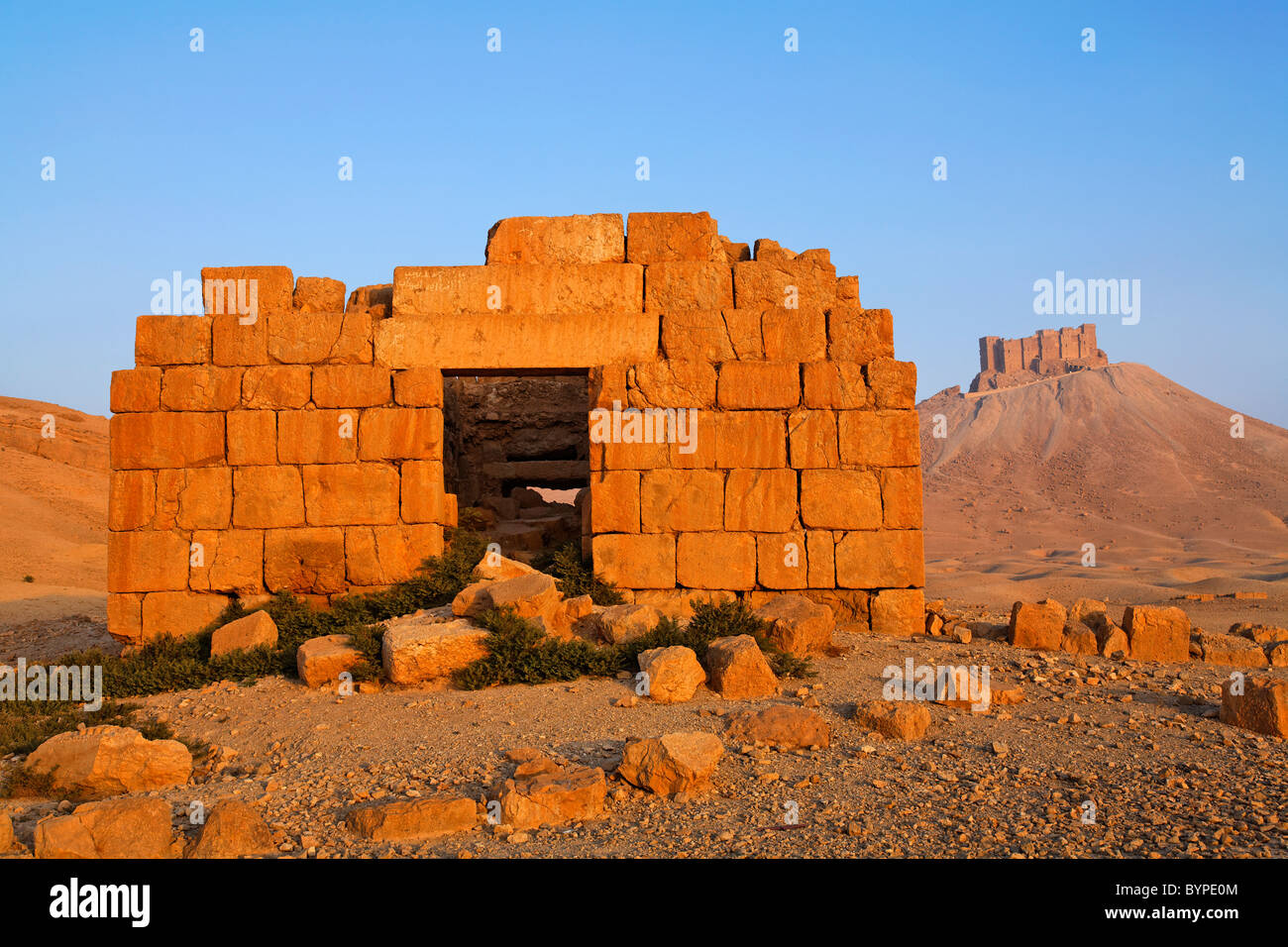 Tower tomb and the Arab Castle at Palmyra, Syria - Stock Image