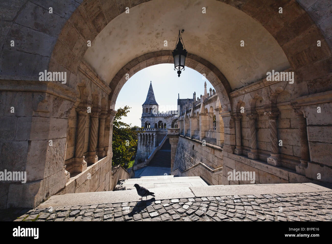 View Through an Arch, Fisherman's Bastion, Budapest, Hungary - Stock Image