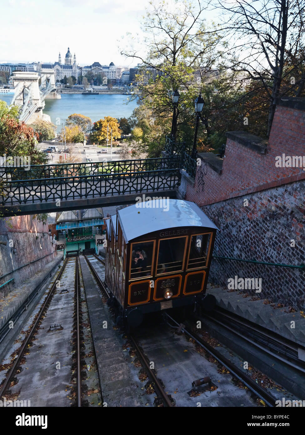 Budapest Castle Hill Funicular Car Ascending to Castle Hill, Hungary Stock Photo