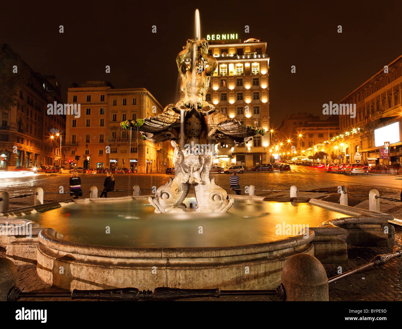 The Triton Fountain at Night, Piazza Bernini, Rome, Italy - Stock Image