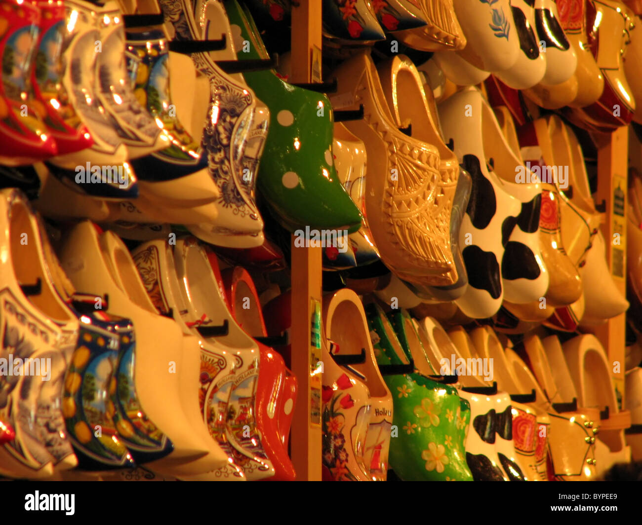 Dutch Painted Wooden Shoes On Display In Factory Store Near