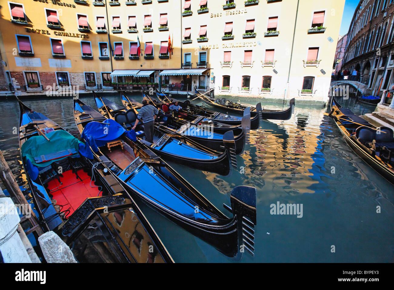 Gondolas in Orseolo Basin at Hotel Cavalletto, Venice, Veneto, Italy - Stock Image