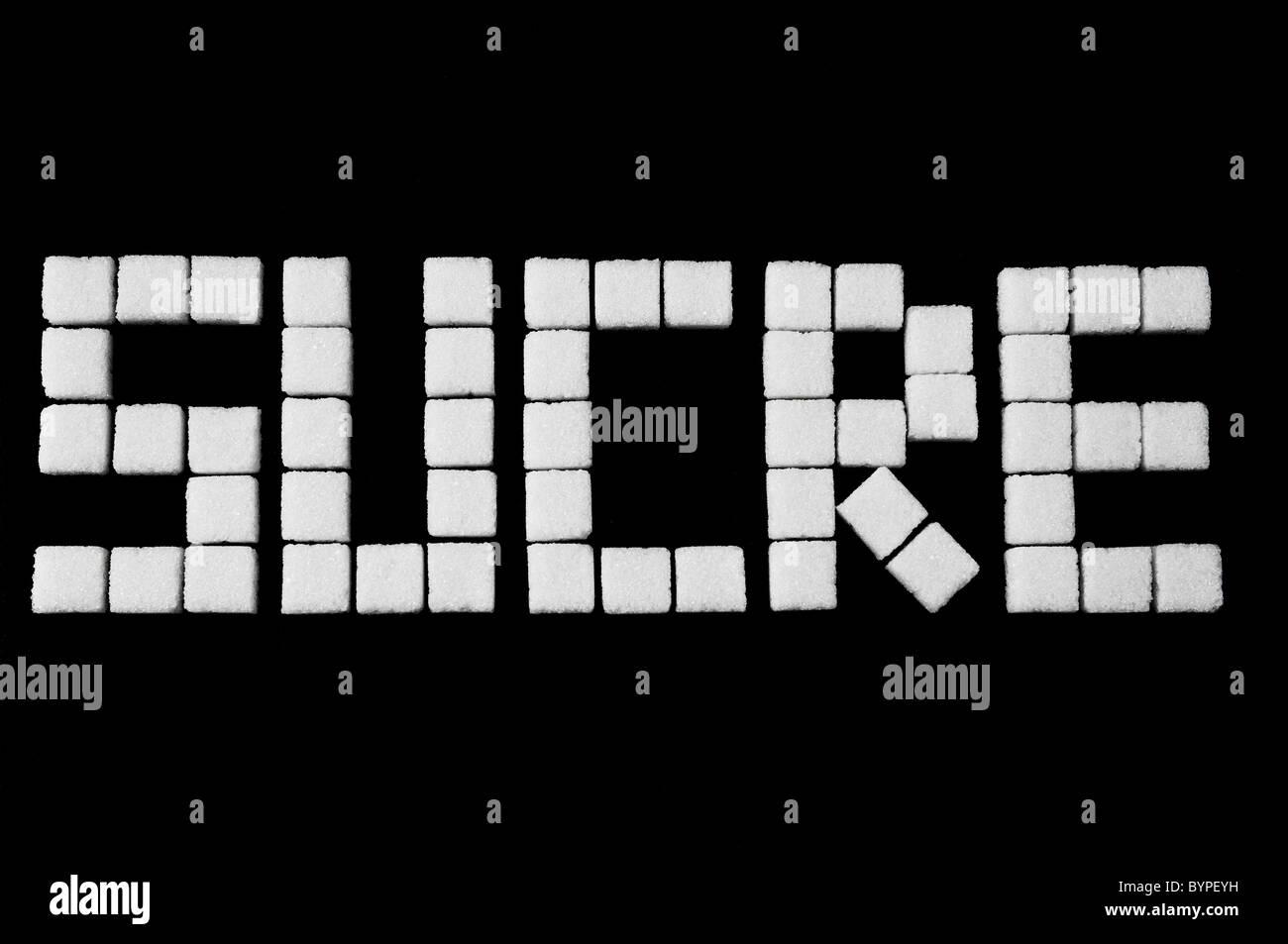 das Wort Sucrer aus Wuerfelzucker zusammengesetzt, Word, sugar cubes - Stock Image