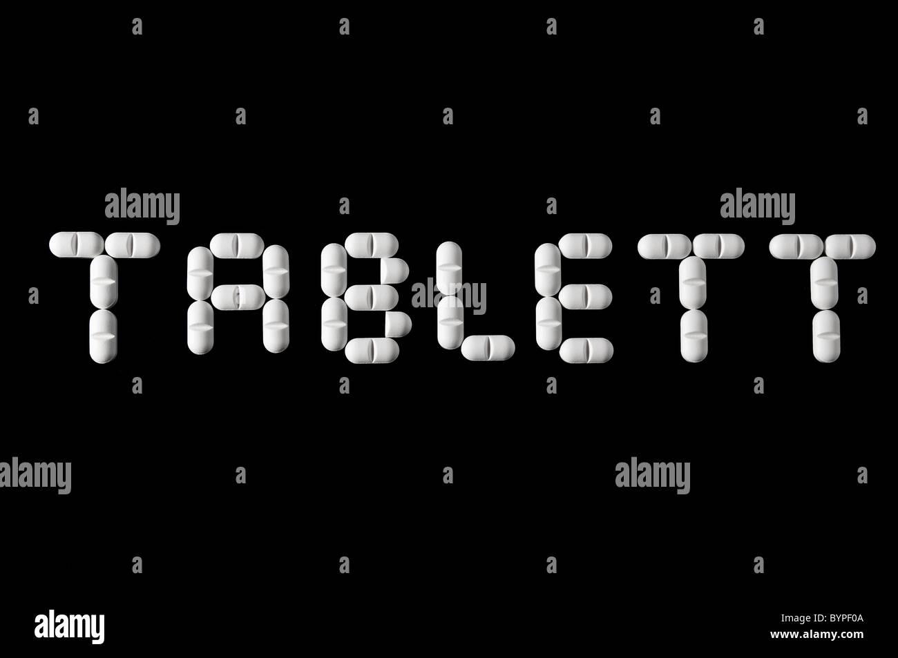 Wort Tablett fuer schwedisch aus Tabletten zusammengesetzt Word tablet in swedish language - Stock Image