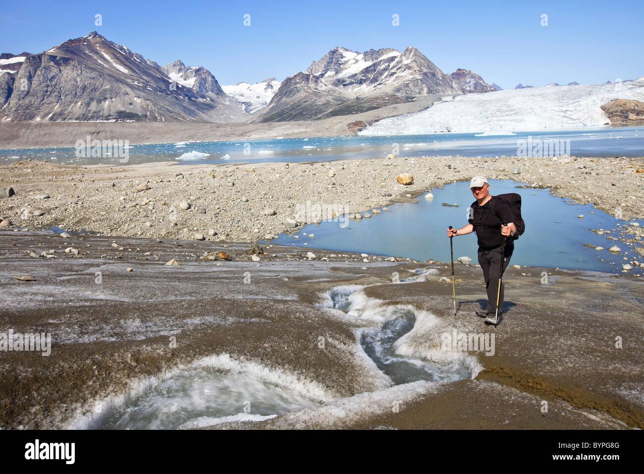 Hiking in Greenland, denmark - Stock Image