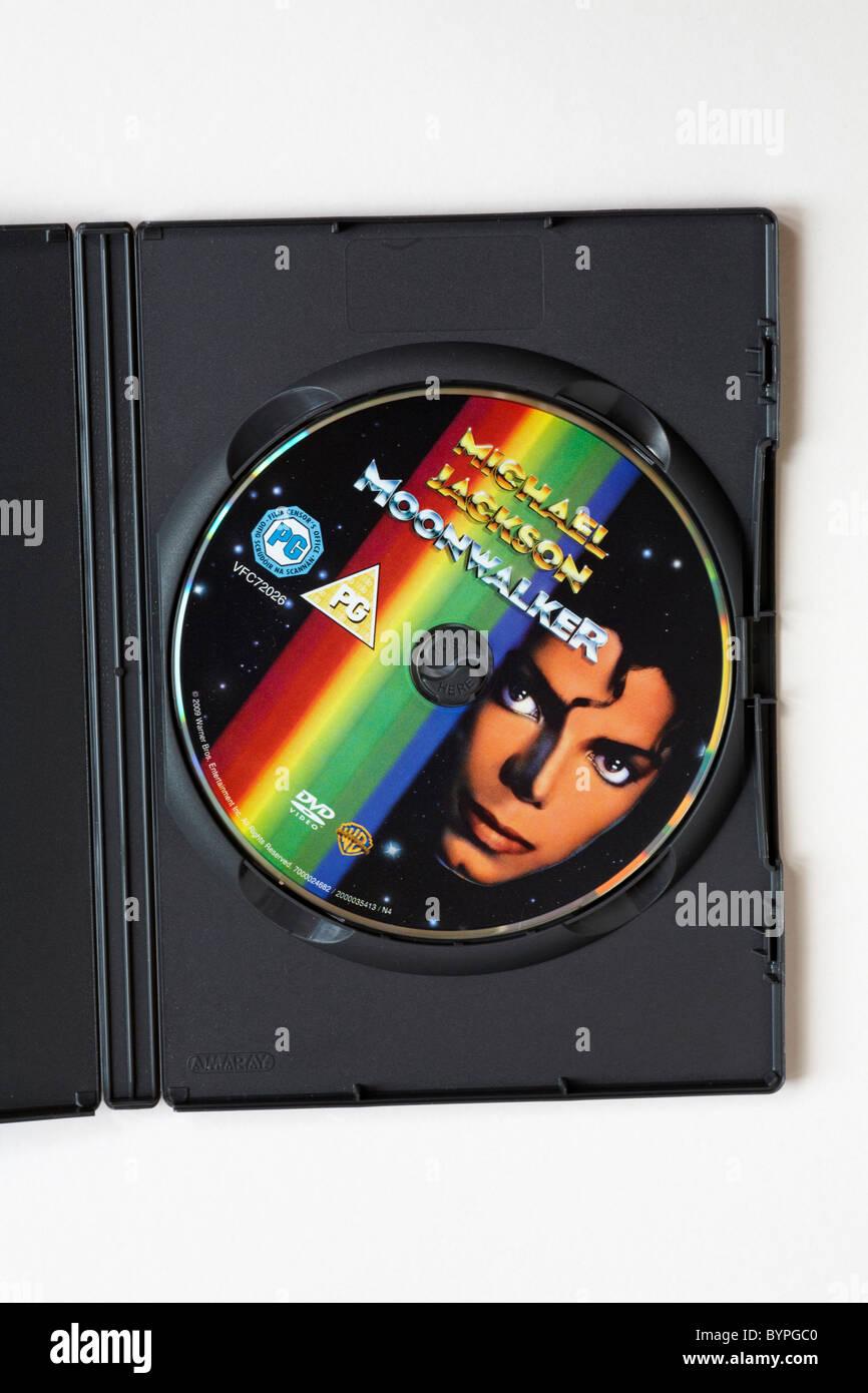 Michael Jackson Moonwalker DVD inside case with white background Stock Photo