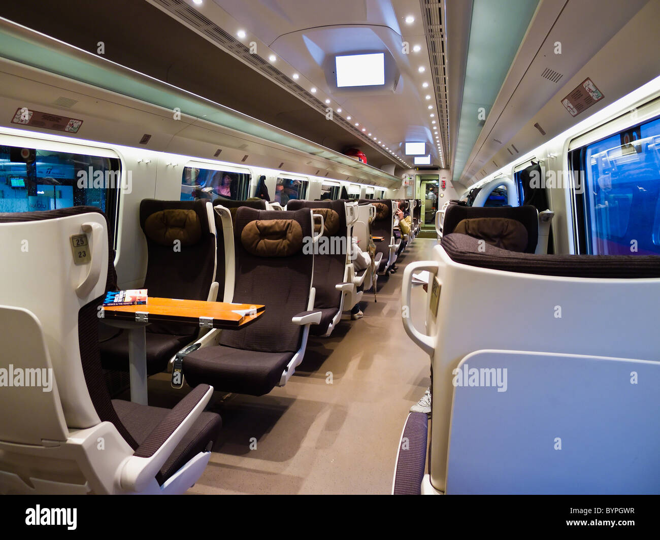 Interior of a Eurostar Train First Class Cabin, Italy - Stock Image