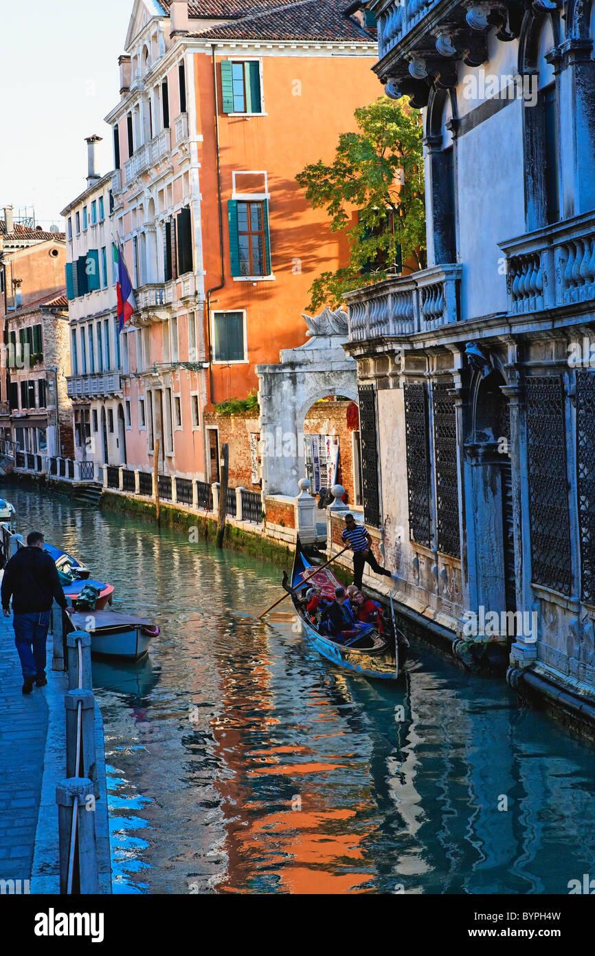 Tourist in a Gondola Fondamenta Rio Marin O de Garzotti, Venice, Veneto, Italy - Stock Image