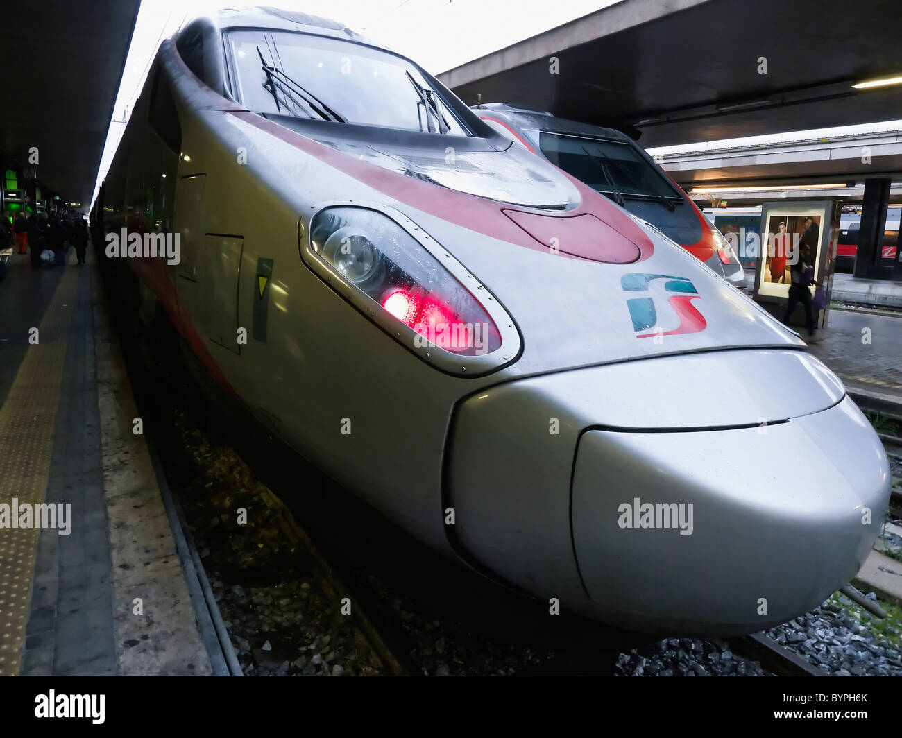 Close Up View of an Eurostar Locomotive, Roma Termini, Italy - Stock Image