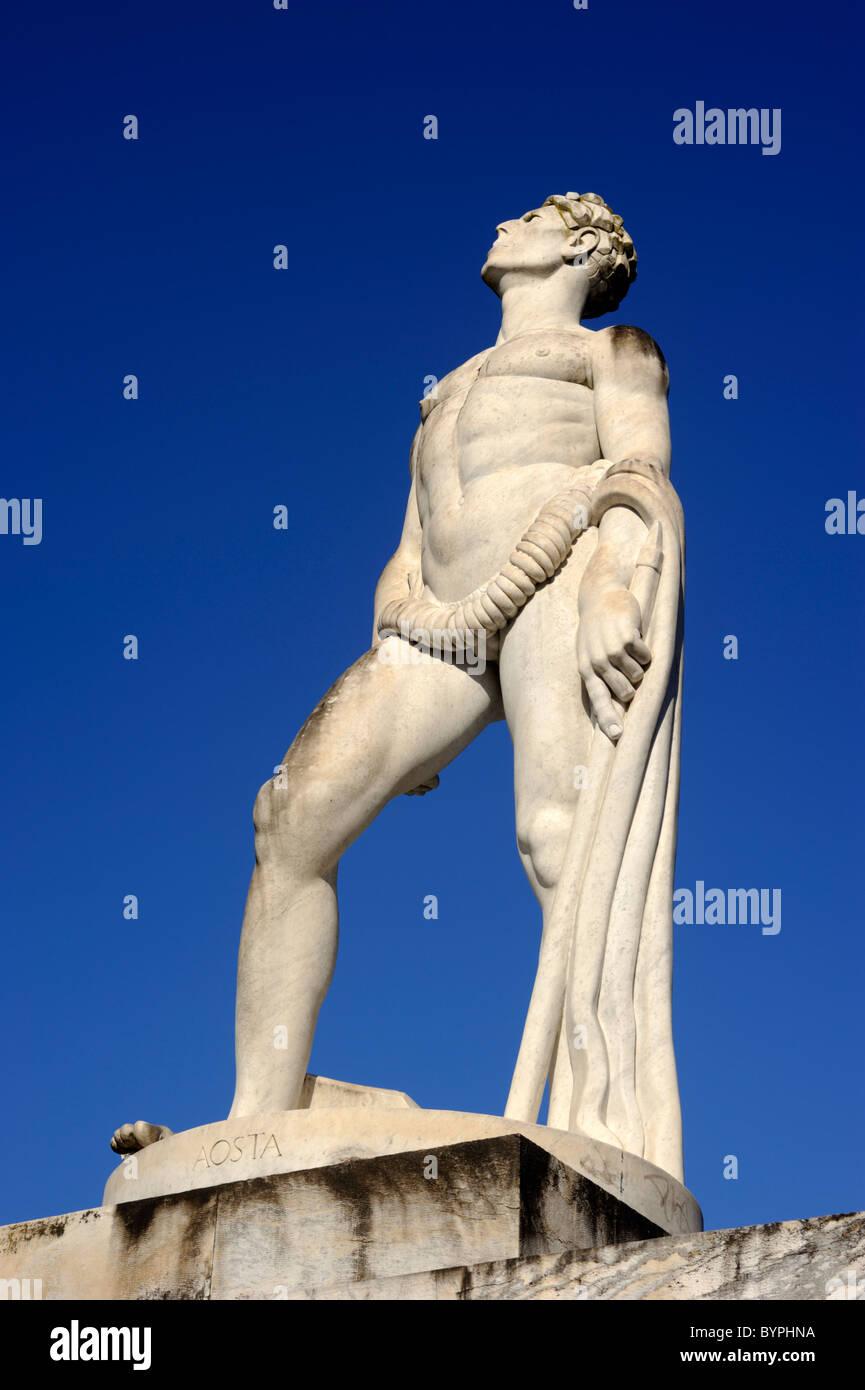 italy, rome, foro italico, stadio dei marmi, marble stadium, statue of athlete - Stock Image