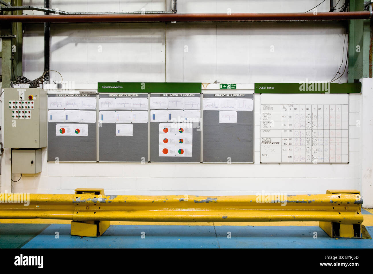 Control panels and bulletin boards in carpet tile factory - Stock Image