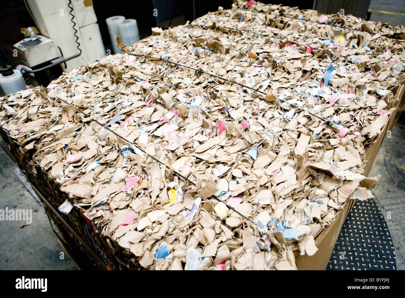 Large bale of cardboard for recycling - Stock Image