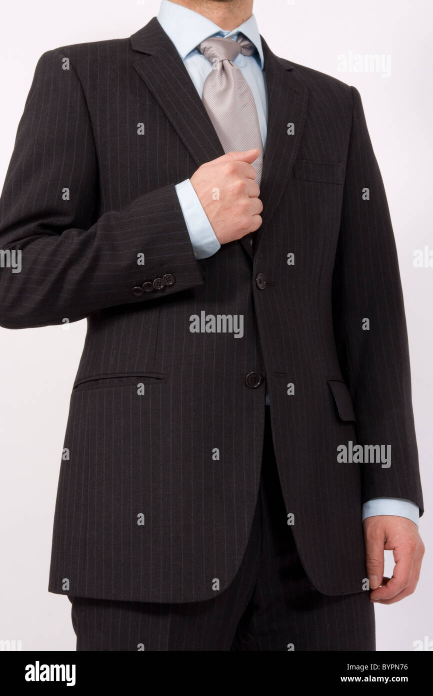 A smart pin striped men's suit. - Stock Image