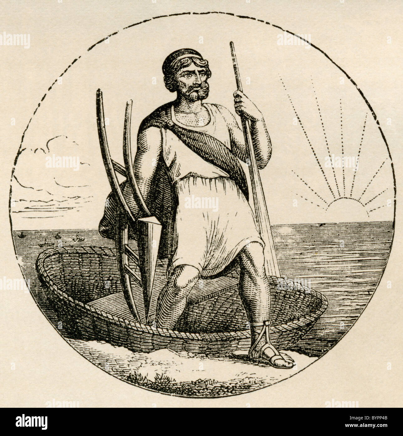 Ancient Briton with Coracle and plow. - Stock Image