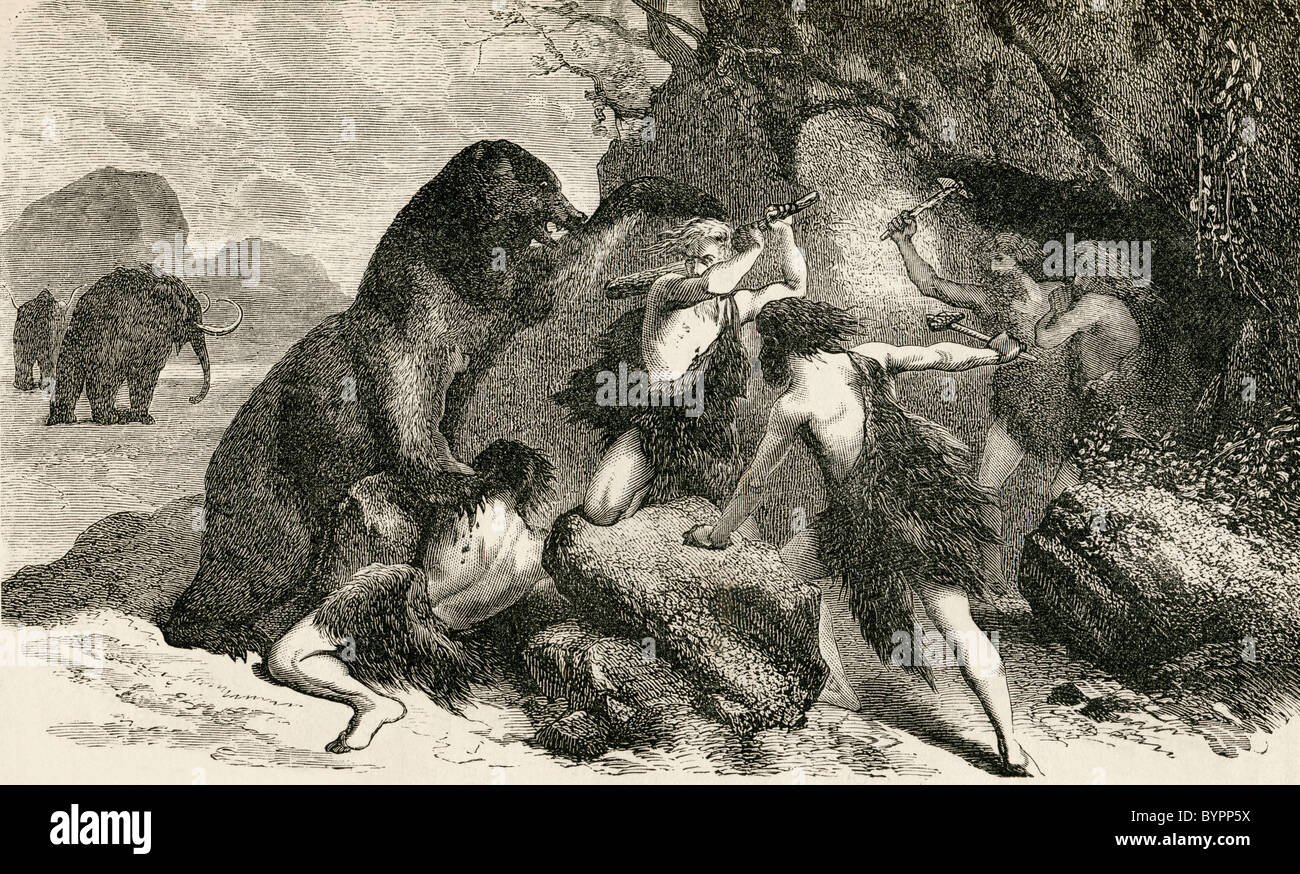 Prehistoric man in the time of the giant bear and mammoth. - Stock Image