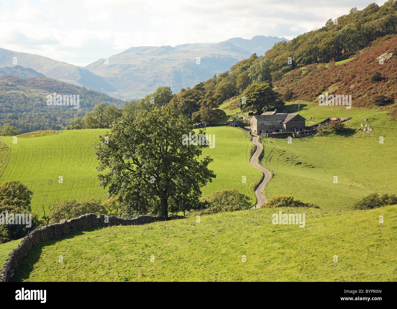A winding farm track between Troutbeck and Ambleside English Lake District National Park England Cumbria UK - Stock Image