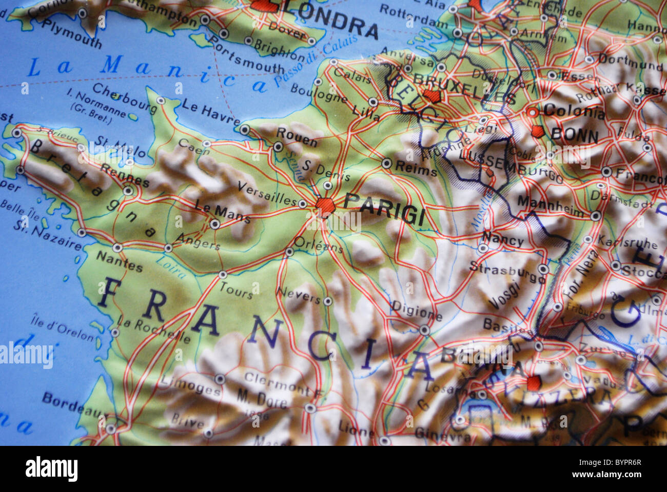 Map Of France Germany.Map In Relief Europe France Germany Italy Stock Photo 34307247 Alamy