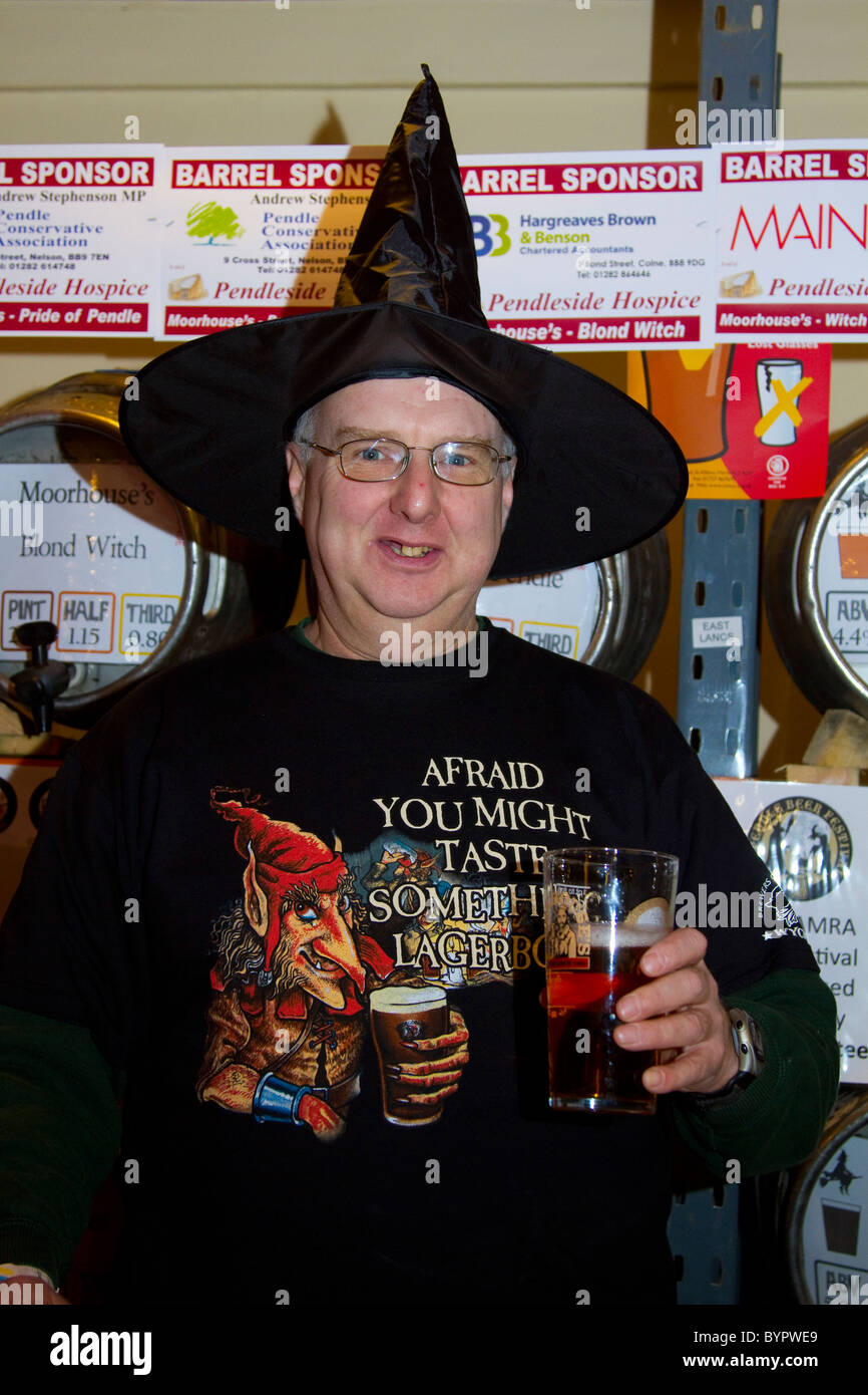 Man with Witches hat at the 7th Pendle Beer Festival. Colne, Lancashire, UK - Stock Image