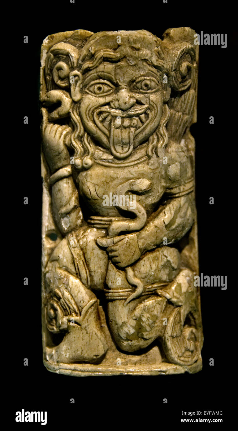 Relief Plaque Monster Gorgon with snakes 500 BC Ionian Ionia  Asia Minor Greek Greece - Stock Image