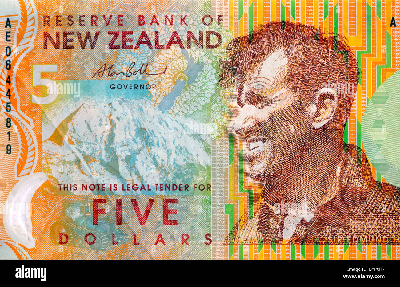 New Zealand Five 5 Dollar Note. - Stock Image