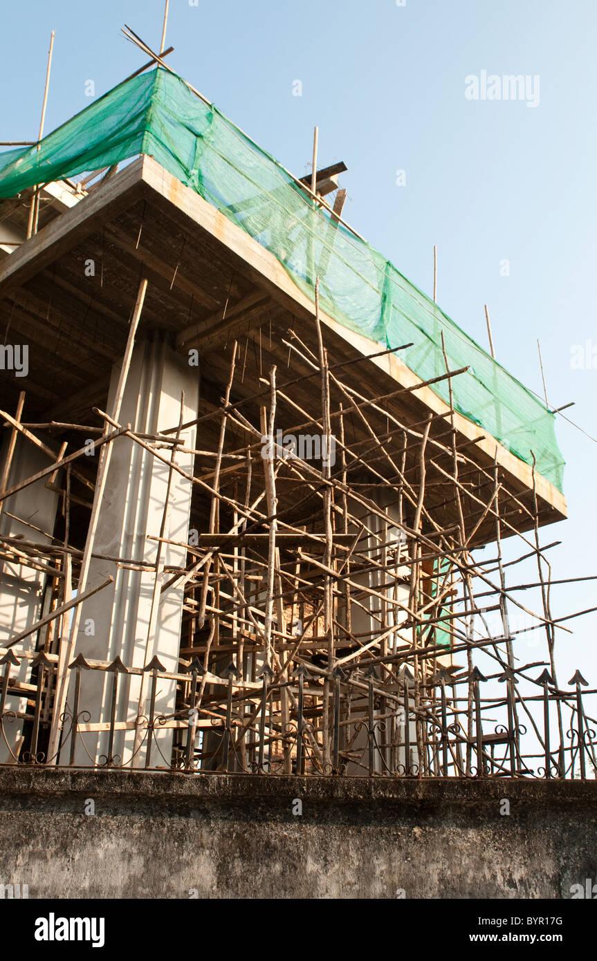 Bamboo scaffolding, Vientiane, Laos - Stock Image