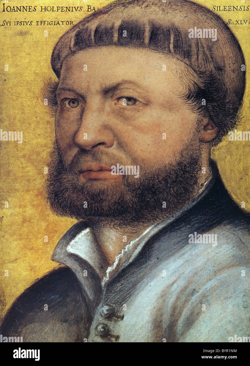 HANS HOLBEIN THE YOUNGER (c 1497-1543) German artist/ printmaker in a self-portrait in the Uffizi Gallery, Florence Stock Photo