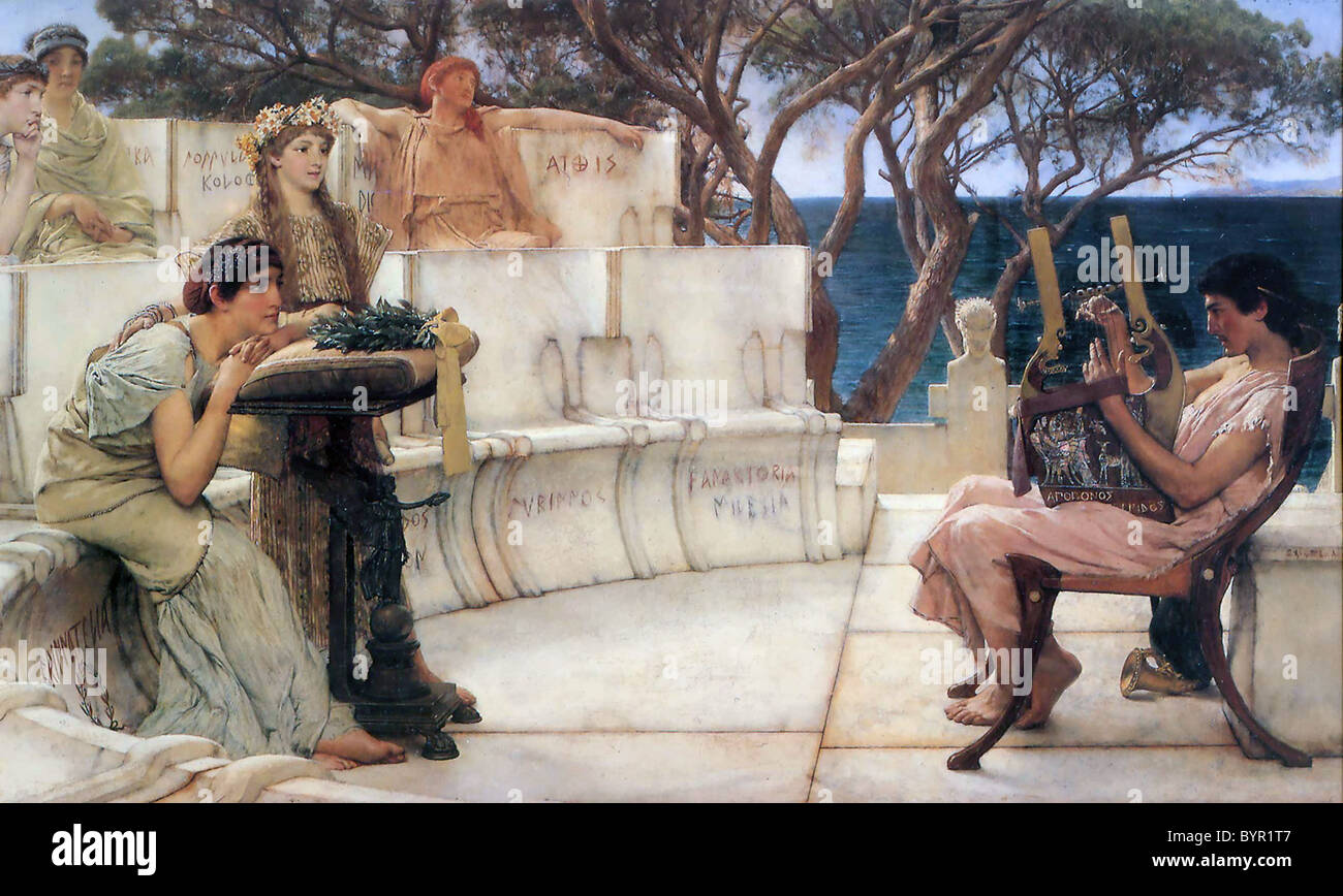 SAPPHO  Ancient Greek poet seen here at left in the painting Sappho and Alcaeus painted by Lawrence Alma-Tadema - Stock Image