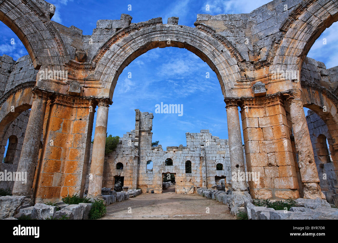 The ruins of the church of St Simeon, Syria - Stock Image