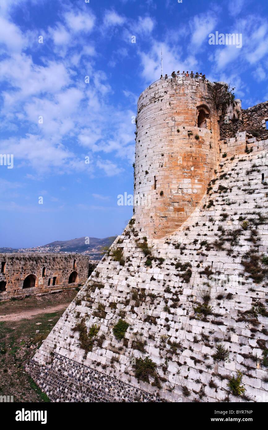 The crusader castle Krak Des Chevaliers, Syria - Stock Image