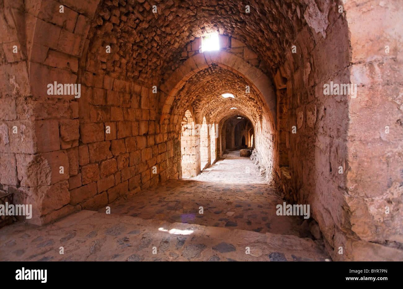 Inside the crusader castle of Krak Des Chevaliers, Syria - Stock Image