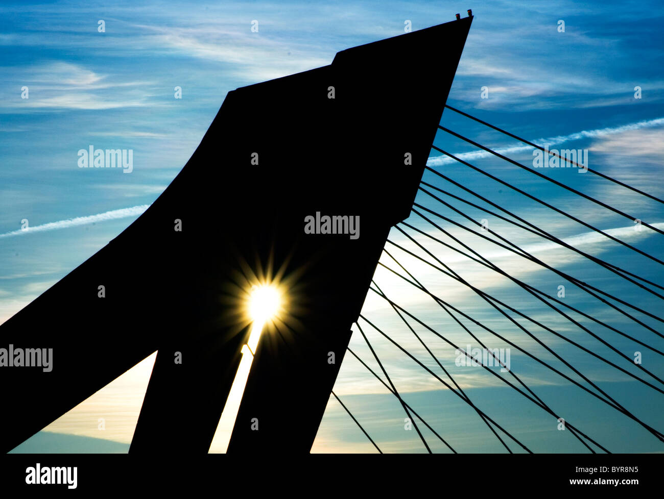 Spanishness Bridge backlighting by afternoon - Stock Image