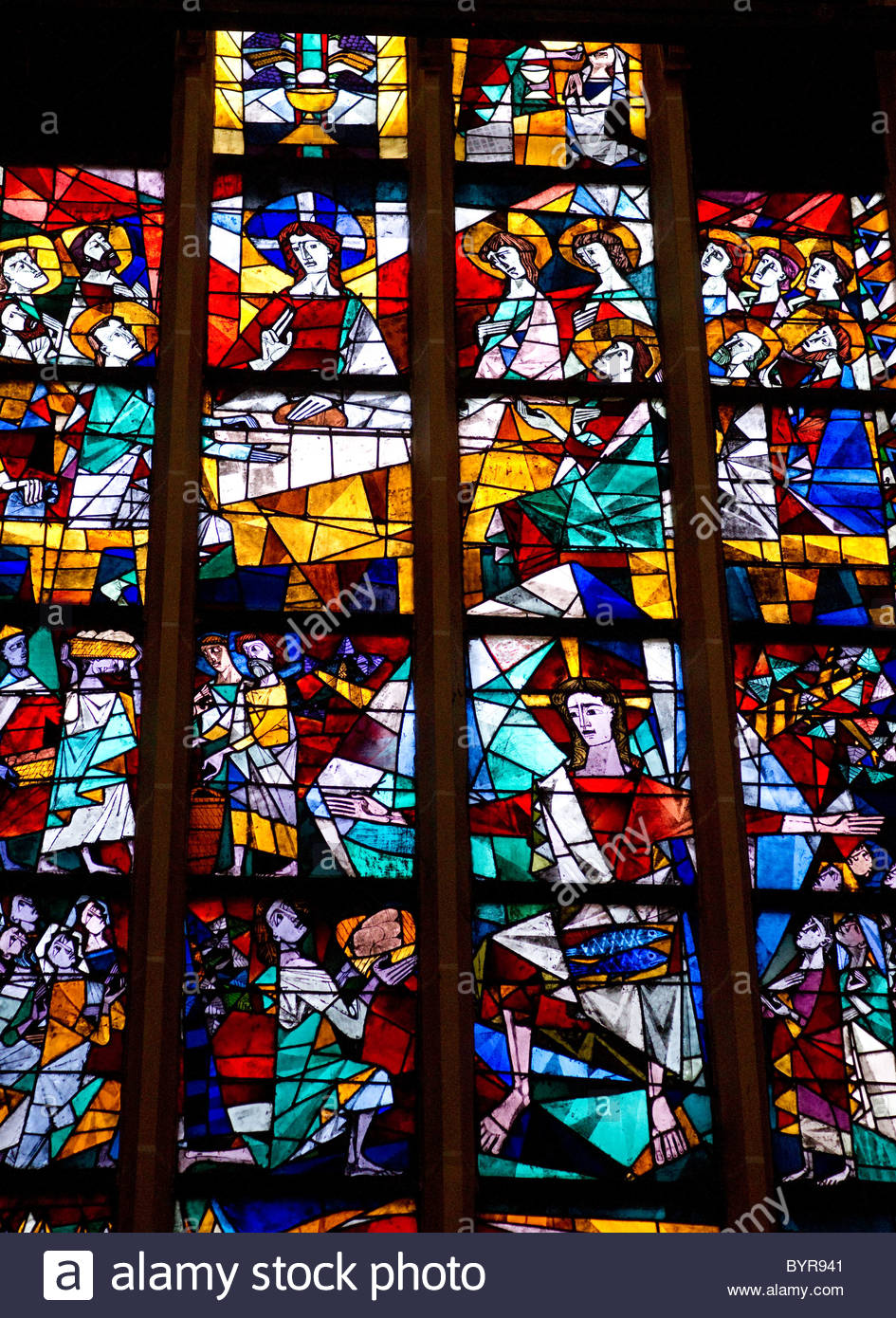 Stained glass windows inside a church – Munich Germany Stock Photo