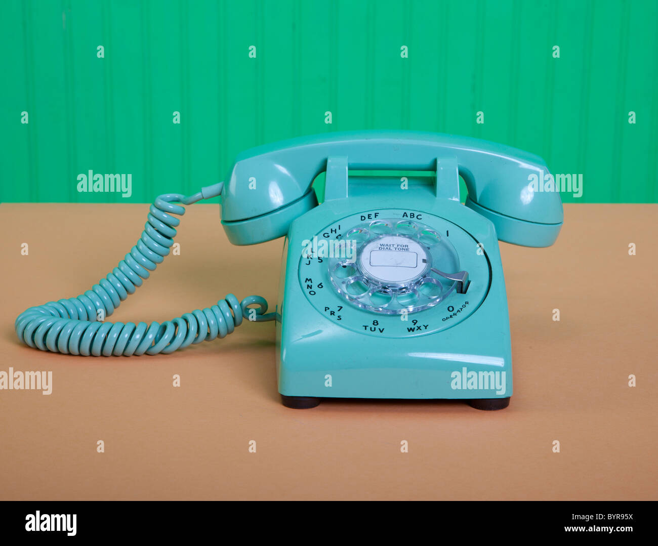 vintage American green telephone - Stock Image