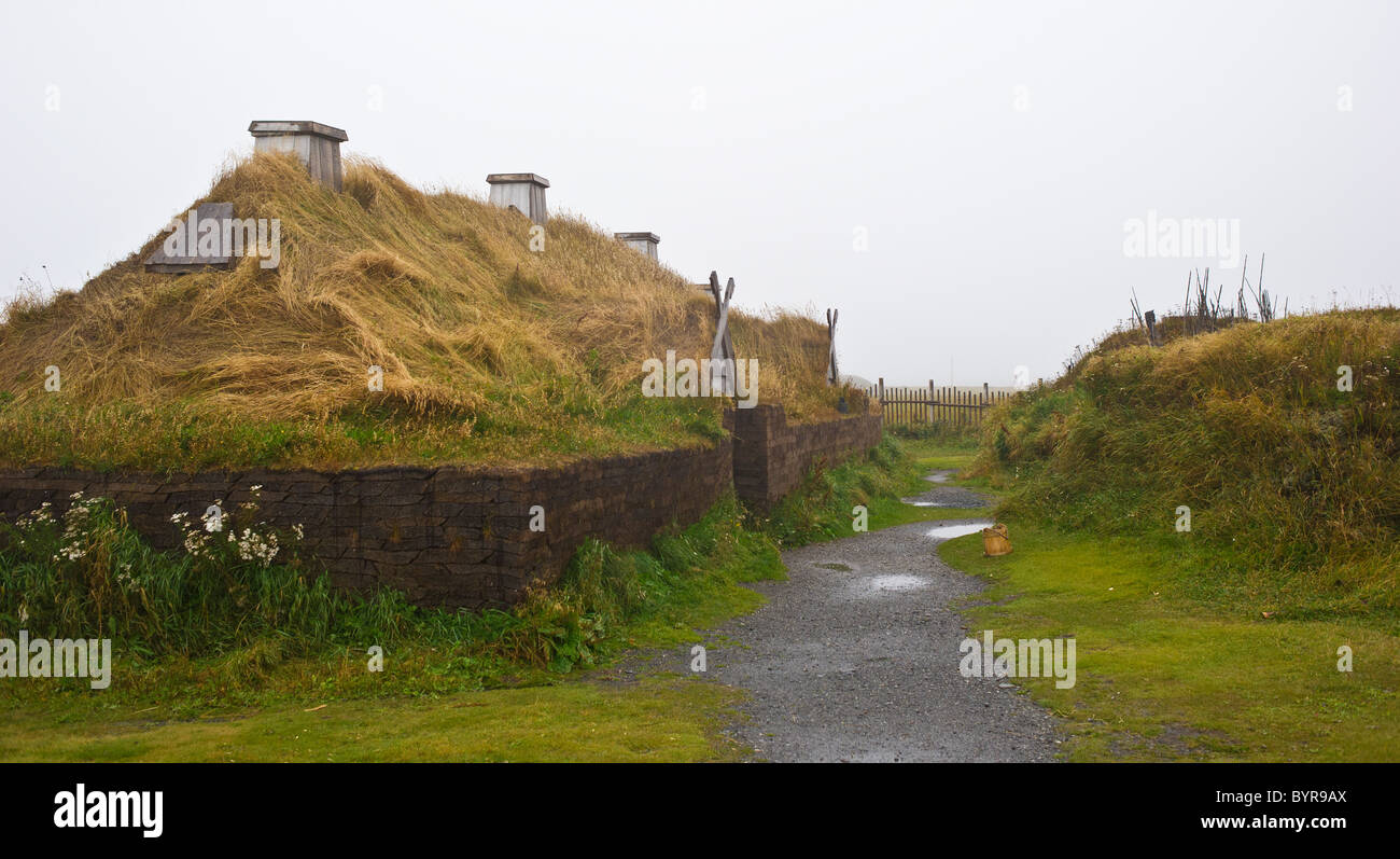 sod hut reconstructions of Norse or Viking settlement at L'Anse aux Meadows - Stock Image