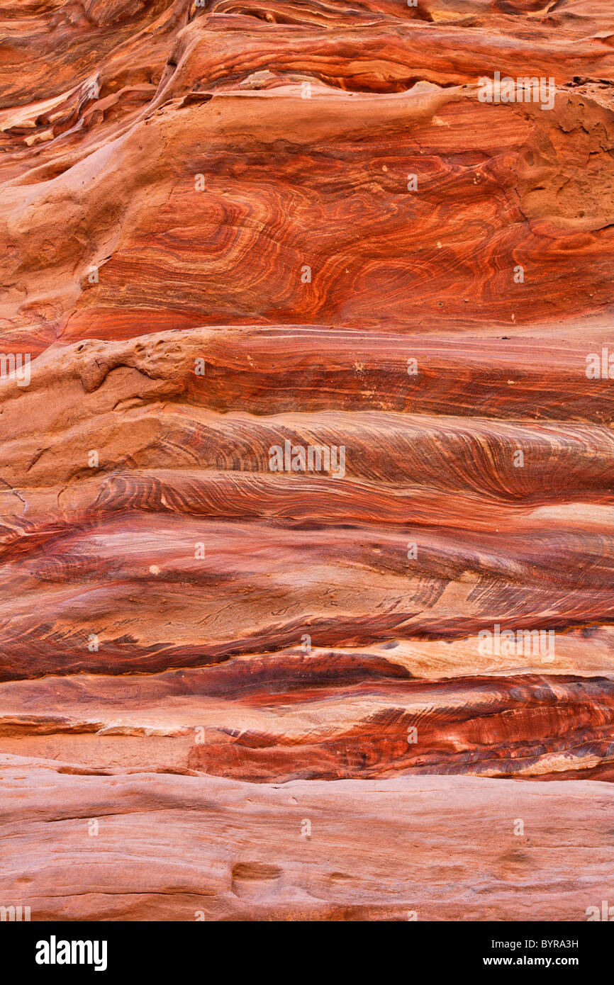 Natural patterns in the rock at Petra, Jordan - Stock Image