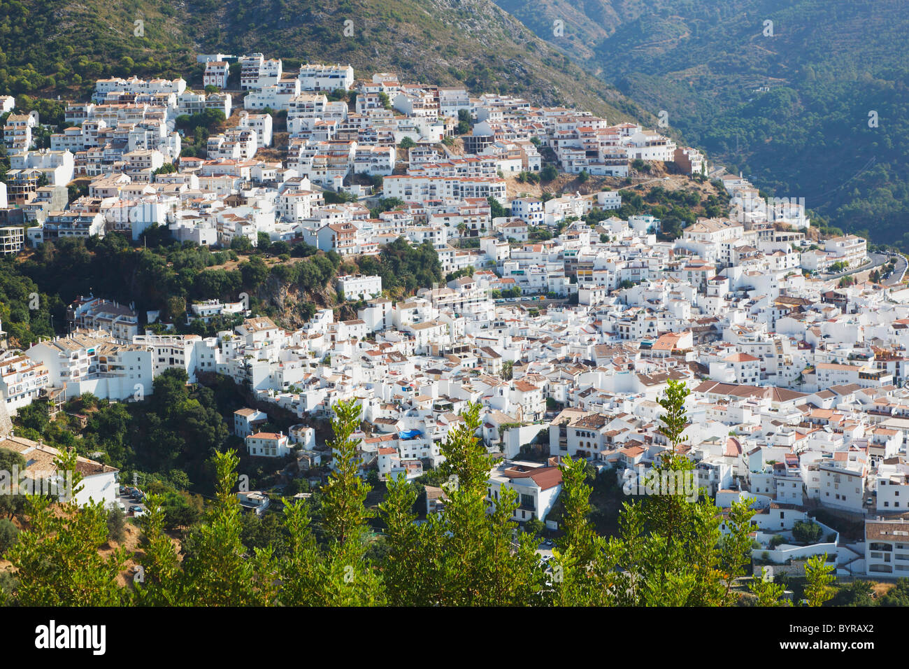 typical white-washed village inland from the costa del sol; ojen, malaga, andalusia, spain - Stock Image