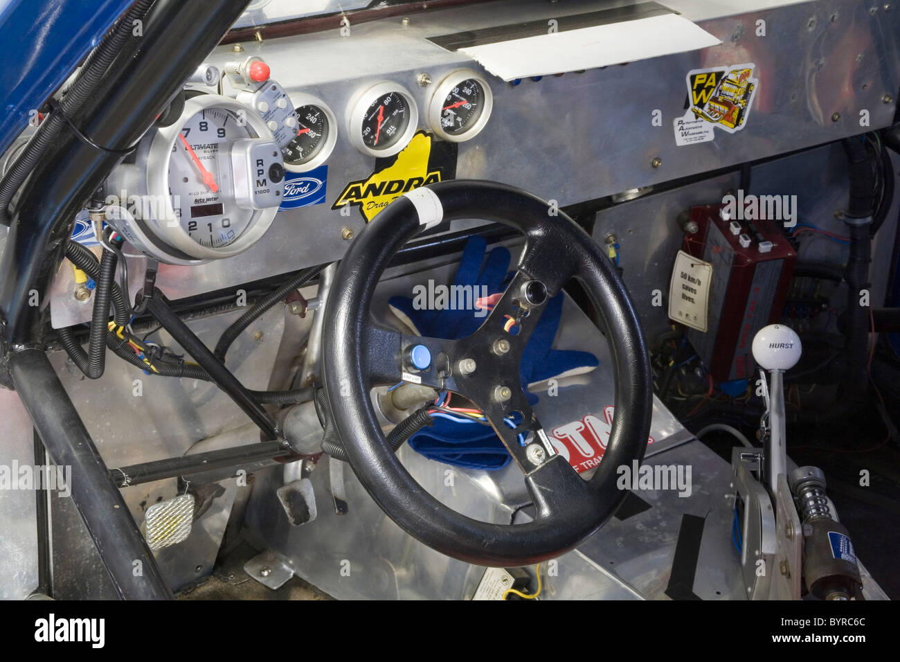 Cockpit or cabin in a drag racing car Stock Photo: 34320564